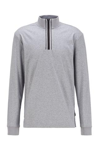 MEN Long-sleeved zip-neck T-shirt with signature stripes