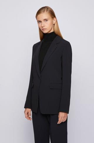 WOMEN Relaxed-fit jacket in crease-resistant crepe with stretch