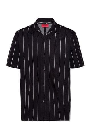 MEN Relaxed-fit polo shirt in jacquard-stripe jersey