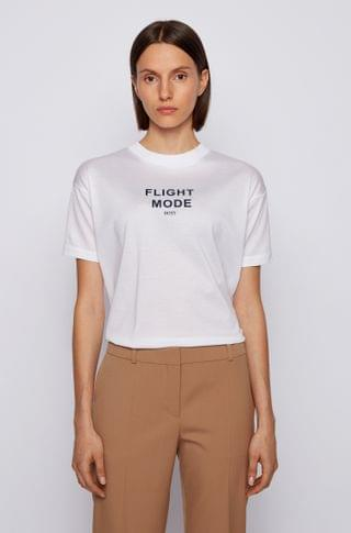 WOMEN Relaxed-fit T-shirt in mercerized cotton with 3D print
