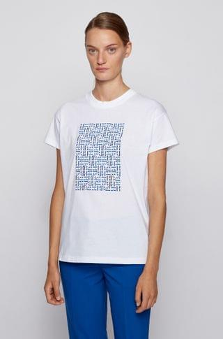 WOMEN Relaxed-fit T-shirt in Recot cotton with monogram embroidery