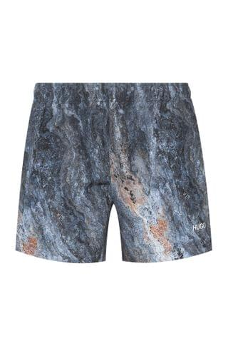 MEN Marble-print swim shorts in quick-drying recycled fabric