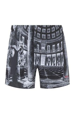 MEN Quick-drying swim shorts with collection-themed print
