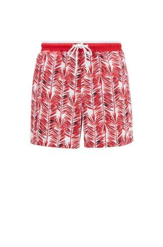 MEN Quick-dry swim shorts with palm-leaf print