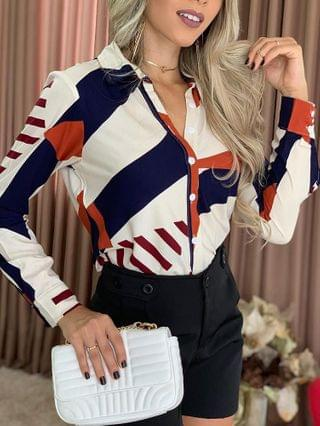 WOMEN Colorblock Button Design Long Sleeve Shirt