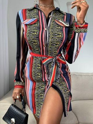 WOMEN Colorblock Pocket Design Slit Shirt Dress