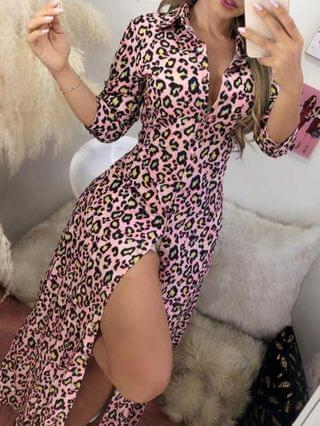 WOMEN Cheetah Print Button Design Maxi Shirt Dress