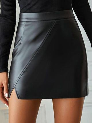 WOMEN High Waist Slit Pu Leather Skirt