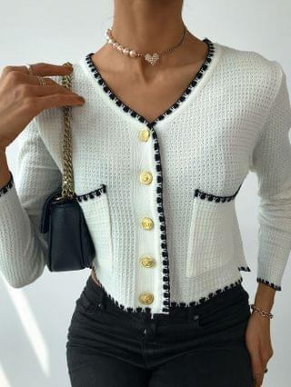 WOMEN Colorblock Buttoned Pocket Design Knit Sweater