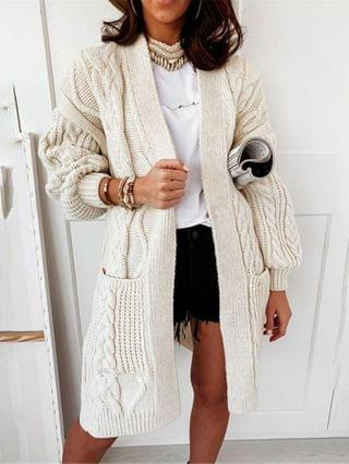 WOMEN Pocket Design Long Sleeve Cable Knit Cardigan