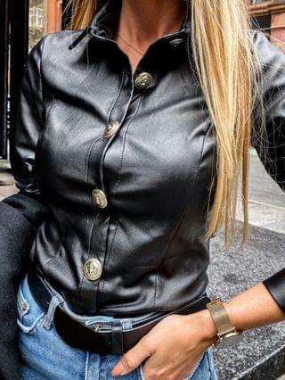 WOMEN Button Design Long Sleeve PU Leather Shirt