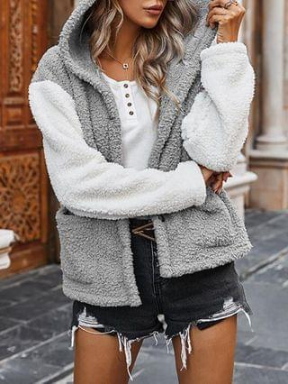 WOMEN Colorblock Buttoned Pocket Design Fluffy Hooded Coat