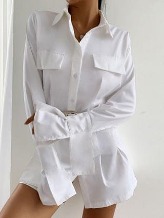 WOMEN Pocket Design Buttoned Plain Shirt & Shorts Set