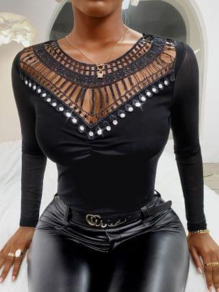 WOMEN Hollow Out Studded Ruched Long Sleeve Top