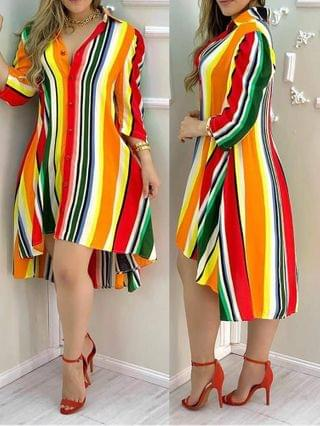 WOMEN Striped Coloblock Button Design Shirt Dress