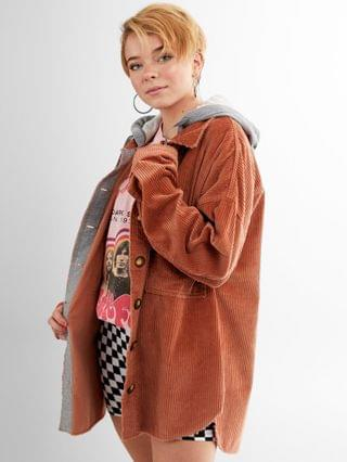 WOMEN Gilded Intent Corduroy Hooded Shirt Jacket