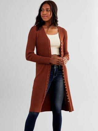WOMEN red by BKE Ribbed Duster Cardigan
