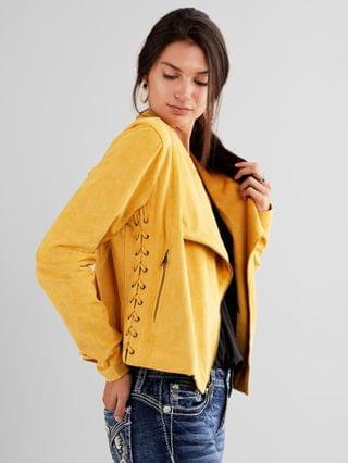 WOMEN Willow & Root Faux Suede Moto Jacket