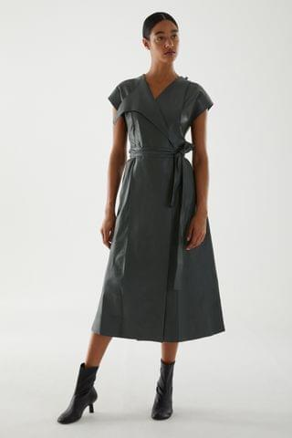 WOMEN BELTED LEATHER DRESS