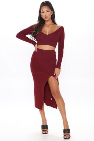 WOMEN Let's Talk About Knit Ribbed Skirt Set - Burgundy