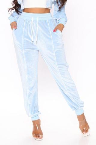 WOMEN Straight To The Point Velour Jogger - Blue