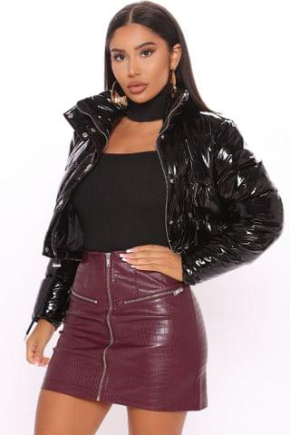 WOMEN She's Necessary Crop Puffer Jacket - Black