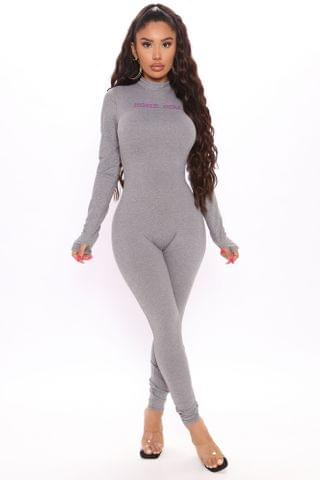 WOMEN Not Your Home Girl Jumpsuit - Heather Grey