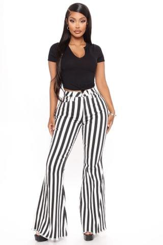 WOMEN It's Showtime Baby Stripe Flare Jeans - Black/White