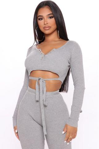 WOMEN Here And Now Crop Sweater - Heathered Grey