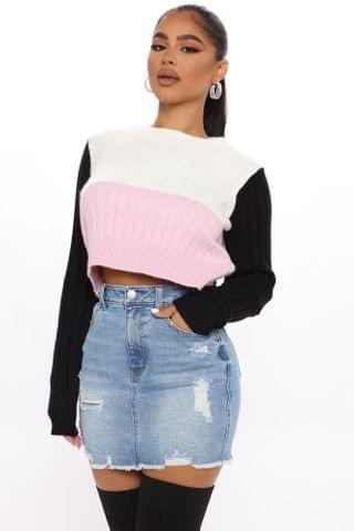WOMEN Different Moods Crop Sweater - Pink/combo