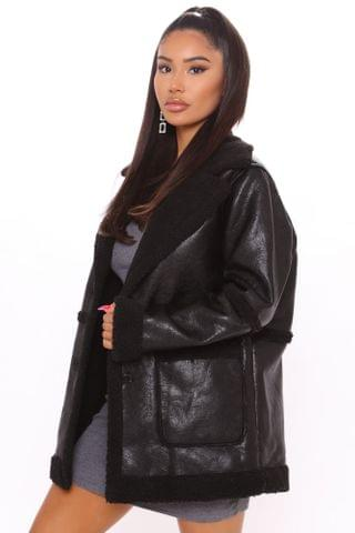 WOMEN Are You Sherpa Faux Leather Jacket - Black/Black