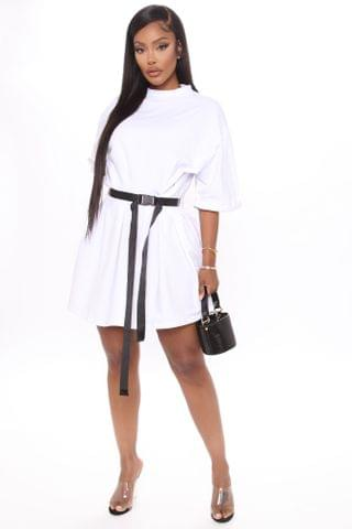 WOMEN All Buckled In Belted Tee Dress - White