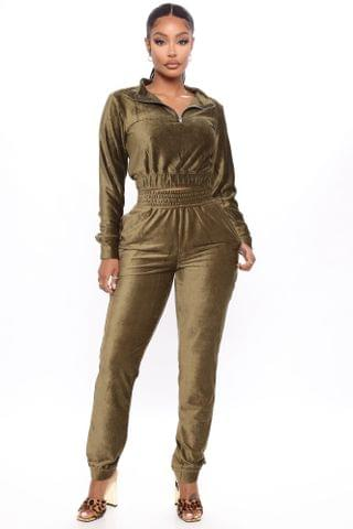 WOMEN Act Accordingly Crop Zip Front And Jogger Set - Olive