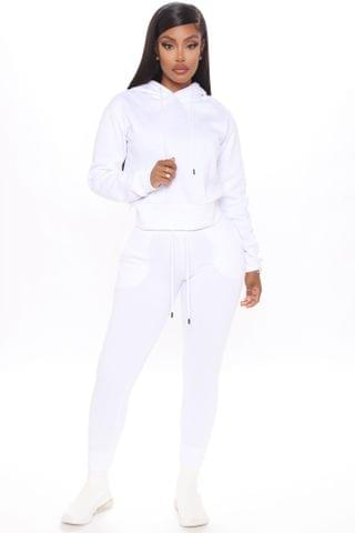 WOMEN Coffee In The Morning Hoodie And Jogger Set - White