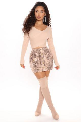 WOMEN You're a Sneaky Snake Cargo Skirt - Taupe/combo
