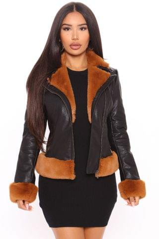 WOMEN Martha Faux Leather Jacket - Black/combo