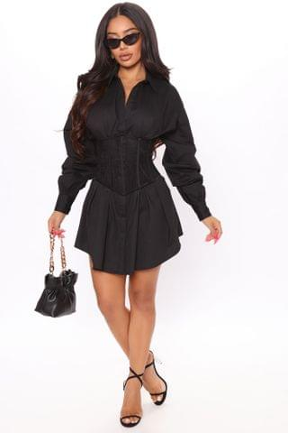 WOMEN Happy Hour Corset Shirt Dress - Black