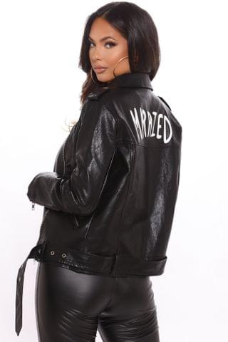 WOMEN Her Just Married Faux Leather Jacket - Black