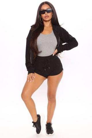 WOMEN Just To Chill Terry Cloth Lounge Short Set - Black