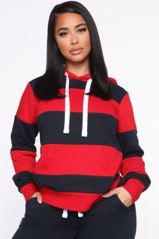 WOMEN Blocking Him Hoodie - Navy/Red