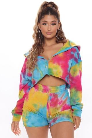 WOMEN Lay It Down Crop Zip Up Jacket - Multi Color