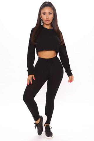 WOMEN Wanderlust Dream Ribbed Crop Hoodie Set - Black