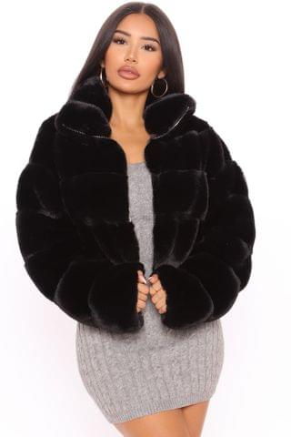 WOMEN True Desire Faux Fur Jacket - Black