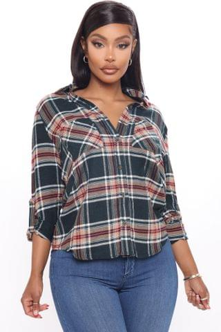WOMEN Square Are You Now Plaid Top - Green