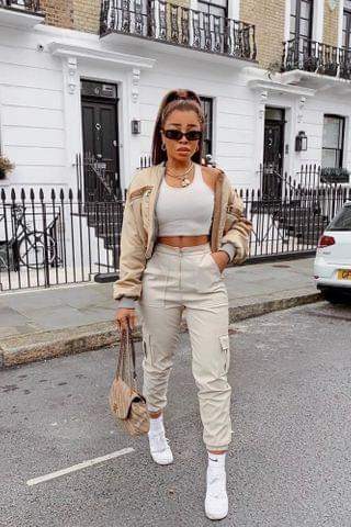 WOMEN Can't Let Go PU Jogger Pant - Khaki