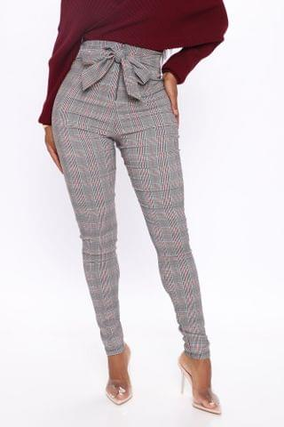 WOMEN Knot Your Girl Pants Plaid - Black/Red