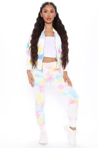 WOMEN Prints And Trends Velour Zip Up And Jogger Set - Pink/combo