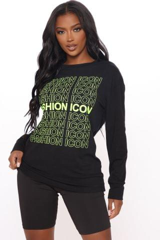 WOMEN Fashion Icon Long Sleeve Top - Black/Green