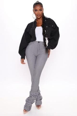 WOMEN Feel The Beat Houndstooth Stacked Pants - White/combo
