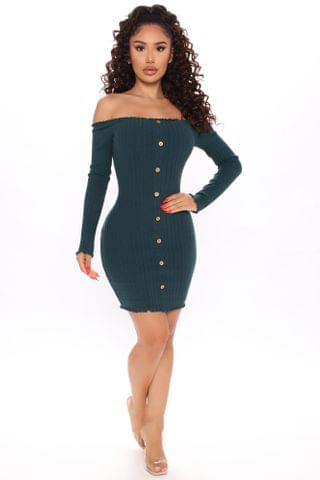 WOMEN Jacklyn Off Shoulder Mini Dress - Hunter